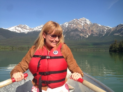 rowing a boat on Patricia Lake